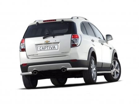 Защита заднего бампера угловая d63мм Chevrolet Captiva (нерж) 2012